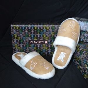 New PLAYBOY Tan Suede Fuzzy Bunny Slipper Shoes XL